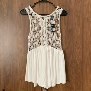 Forever 21 White Crotchet Floral Tunic Tank NWT